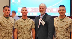 From L to R, BGen Nally, BGen Smith, Steve Gaudreau (Chapter President), Col(sel) Mike Phillips (CO, Comm School)