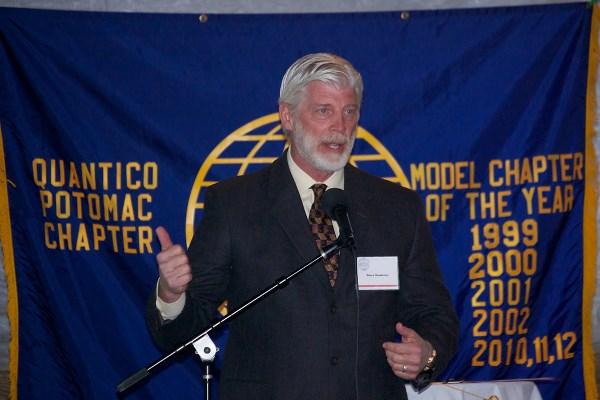 AFCEA Quantico-Potomac Chapter President Steve Gaudreau explains the purpose of the Mixer
