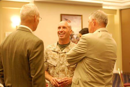 Former Comm School Directors (L to R), Col Dennis Thompson, USMC (ret); Col Andy Murray, USMC; LtGen Bob Shea, USMC (ret)